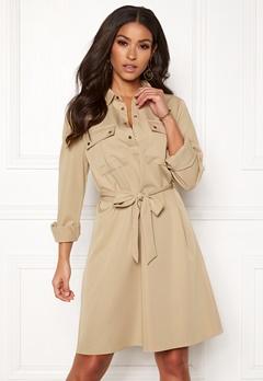 VILA Trooper L/S Dress Soft Camel Bubbleroom.se