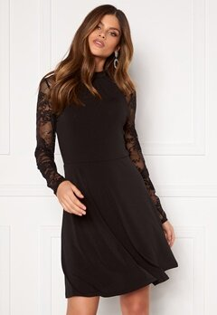 VILA Tryks Lace Detail L/S Dress Black Bubbleroom.se