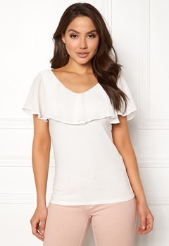 VILA Tulle S/L Chiffon Top Cloud Dancer Bubbleroom.se