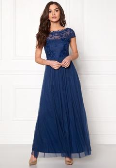 VILA Ulricana s/s Maxi Dress Estate Blue Bubbleroom.se