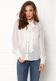 VILA Addie Bow Shirt Cloud Dancer Bubbleroom.se