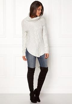 VILA Vidisa Cowlneck Knit Top Super Light Grey Mel Bubbleroom.no
