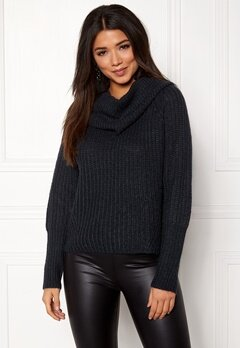 VILA Viview Cowlneck Knit Top Dark Navy Bubbleroom.se