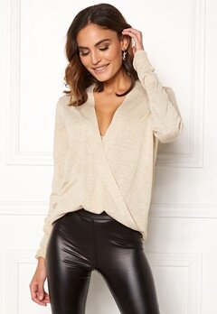 VILA Wendis Wrap Knit Top Natural Melange Bubbleroom.se