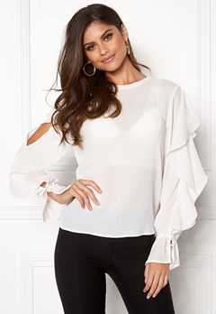VILA Zania L/S Top Cloud Dancer Bubbleroom.fi