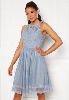 VILA Zinna New S/L Dress Ashley Blue Bubbleroom.se