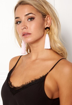 WOS Gloria Tassels Earrings Rosa/Svart Bubbleroom.no