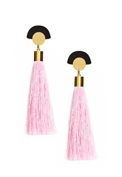 WOS Gloria Tassels Earrings Rosa/Svart Bubbleroom.se