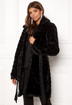 Y.A.S Asala Faux Fur Coat Black Bubbleroom.se