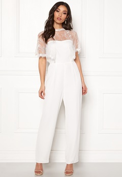 Y.A.S Flower Cape Jumpsuit Star White Bubbleroom.se
