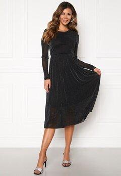 Y.A.S Jessa LS Lurex Midi Dress Black Bubbleroom.se