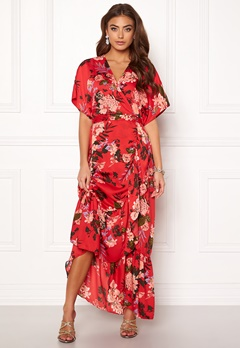 Y.A.S Jungle S/S Maxi Dress High Risk Red Bubbleroom.se