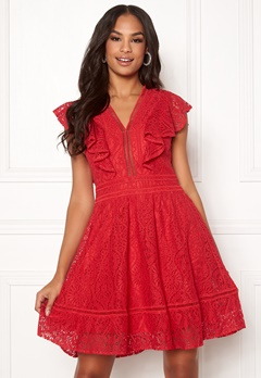 Y.A.S Malma Lace Dress High Risk Red Bubbleroom.se