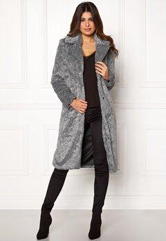 Y.A.S Pala Faux Fur Coat Dark Grey Melange Bubbleroom.se