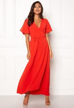 ICHI Zarun Wrap Maxi Dress 16254 Aurora Red Bubbleroom.se