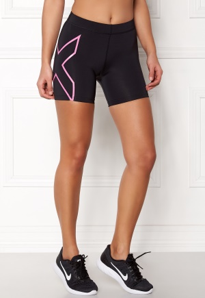 2XU Core Compression Shorts Black/Fluro Pink L