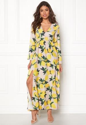 AÉRYNE Ioor Dress Beige/Lemon Print XS