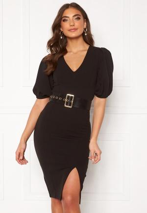 Alexandra Nilsson X Bubbleroom Deep neck puff sleeve dress Black 38
