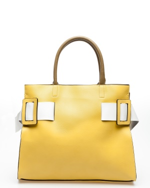 ALPINI Handväska, Pia Gul, brun, vit One size
