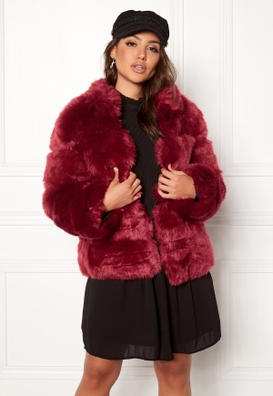 AMO Couture Phantom Faux Fur Short Coat Deep Red M (10)