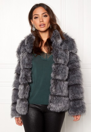 AMO Couture Phantom Faux Fur Short Coat Silver Fox L (12)