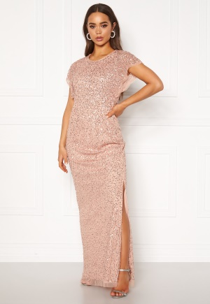 AngelEye Allover Sequin Maxi Dress Cameo Rose L (UK14)