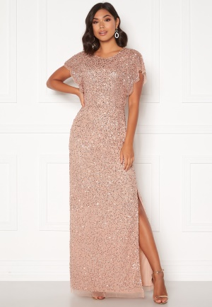 AngelEye Allover Sequin Maxi Dress Cameo Rose M (UK12)