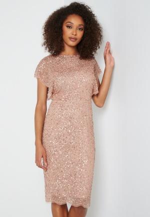 AngelEye Scallop Sequin Midi Dress Rose Gold L (UK14)