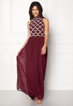 AngelEye Sequin Bodice Maxi Dress Burgundy L (UK14)