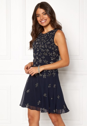 AngelEye Sequin Skater Dress Navy L (UK14)