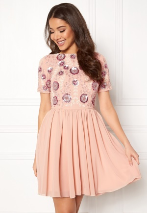 AngelEye Short Sleeve Sequin Dress Pink S (UK10)