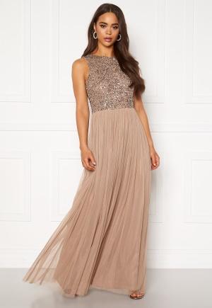Se AngelEye Sleeveless Sequin Dress Taupe L (UK14) ved Bubbleroom