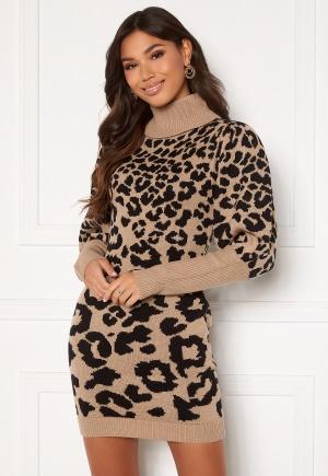 AX Paris Animal Knitted Dress Stone Leo M/L
