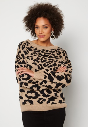 AX Paris Animal knitted Jumper Stone M/L