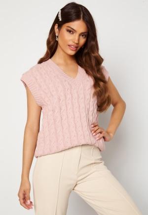 AX Paris Cable Knit High Neck Tank Top Pink M/L