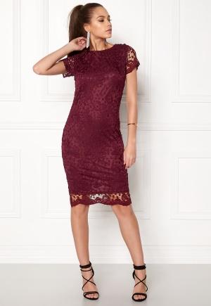 AX Paris Crochet Lace Midi Dress Wine L (UK14)