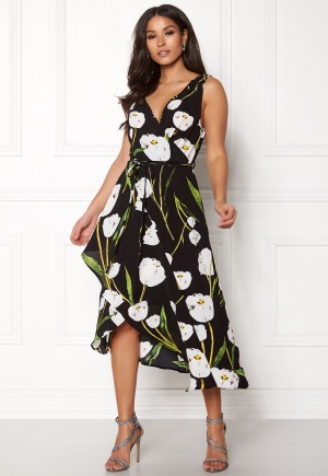 AX Paris Floral Print Wrap Dress Black XS (UK8)