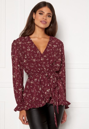 AX Paris Floral Wrap Frill Blouse Wine XS (UK8)