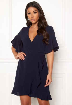 AX Paris Frill Sleeve Wrap Dress Navy XS (UK8)