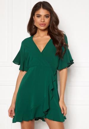 Image of AX Paris Frill Sleeve Wrap Dress Teal L (UK14)