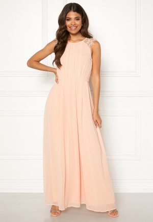 AX Paris Lace Trim Chiffon Maxi Dress Nude M (UK12)