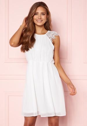 AX Paris Lace Trim Skater Dress White/Black Glitter L (UK14)
