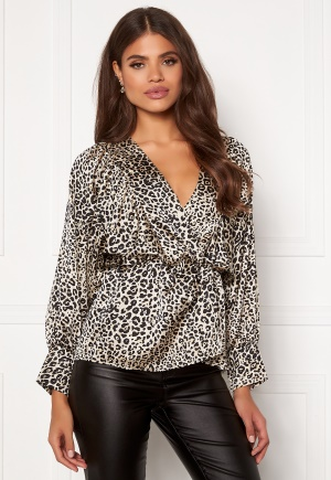 AX Paris Leopard Balloon Sleeve Blouse Multi M (UK12)