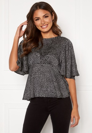 Se AX Paris Mini Spot Flared Blouse Black XS (UK8) ved Bubbleroom