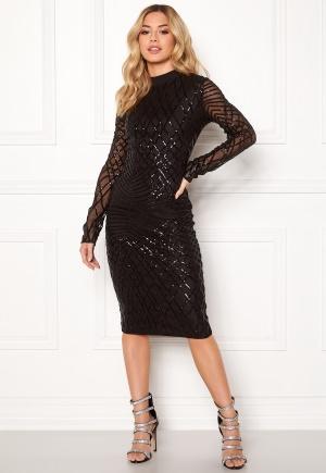 Image of AX Paris Sleeve Sequin Midi Dress Black XS (UK8)