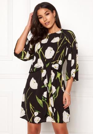Image of AX Paris Floral Tie Waist Dress Black XS (UK8)