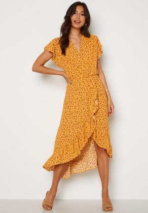 Image of AX Paris Wrap Frill High Low Maxi Dress Yellow XS (UK8)