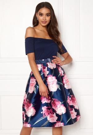 AX Paris Bardot Floral Prom Dress Navy L (UK14)