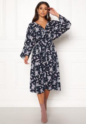 Blue Vanilla Floral Kimono Midi Dress Navy XS (UK8)