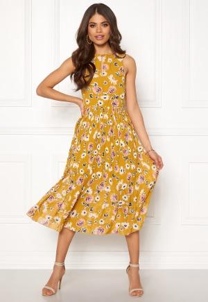 Blue Vanilla Floral Pleated Midi Dress Mustard L (UK14)